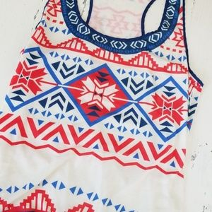 Red White and Blue Native American Tank